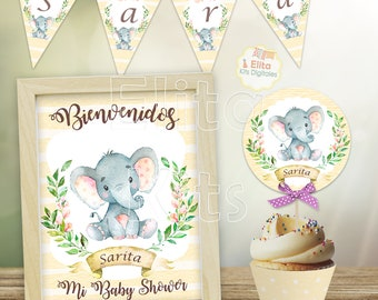 Baby Shower Nina Elefante Decoracion.Kit Imprimible Elefante Ninas Decoracion Baby Shower Ninas