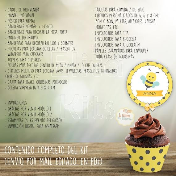 Kit Imprimible Abejita Cumpleaños Nena 1 Añito Bautismo Baby Shower Súper Completo Personalizado