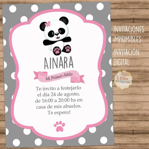 Kit Imprimible Osito Panda Nena Cumpleaños 1 Añito Bautismo Baby Shower Súper Completo Personalizado