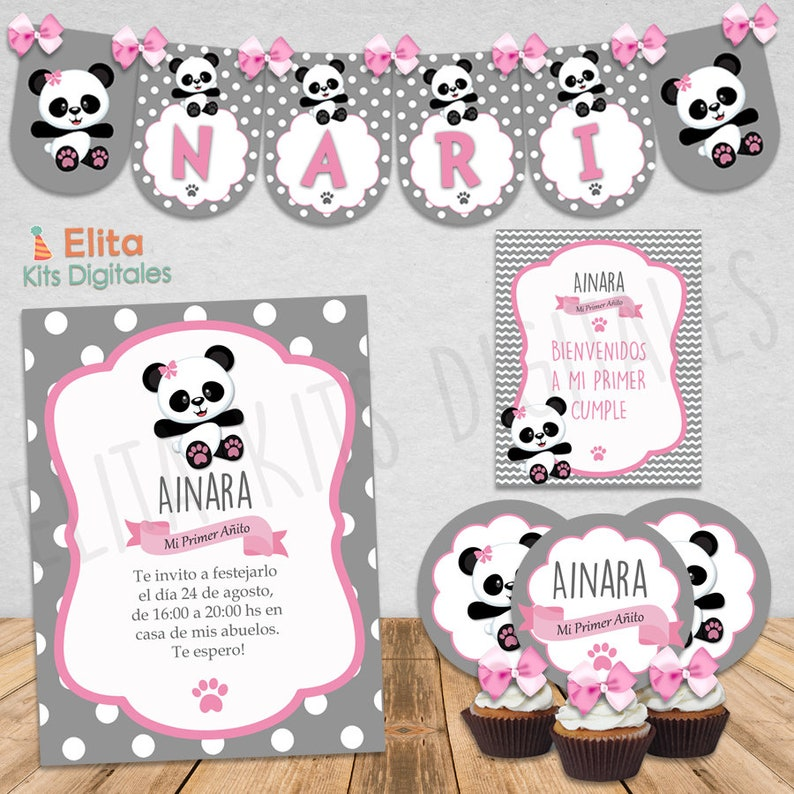 Kit Imprimible Osito Panda Nena Cumpleanos 1 Etsy