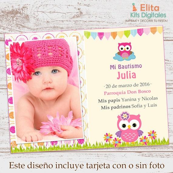 Kit Imprimible Búhos Y Lechuzas Invitación Estampita Con Foto Fiestas De Cumpleaños Nena Bautismo Baby Shower Personalizado