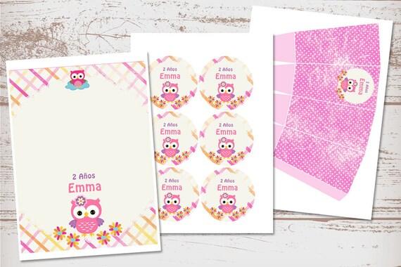 Kit Imprimible Búhos Y Lechuzas Decoración Cumpleaños Niñas Bautizo 1 Año Baby Shower Imprimibles Bautismo Nenas Invitaciones Bautizo
