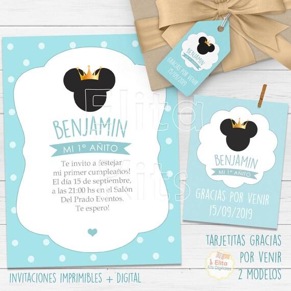 Kit Imprimible Mickey Príncipe Corona Dorada Coronitas Cumpleaños Niño 1 Añito Bautizo Baby Shower Candy Bar Personalizado Invitaciones