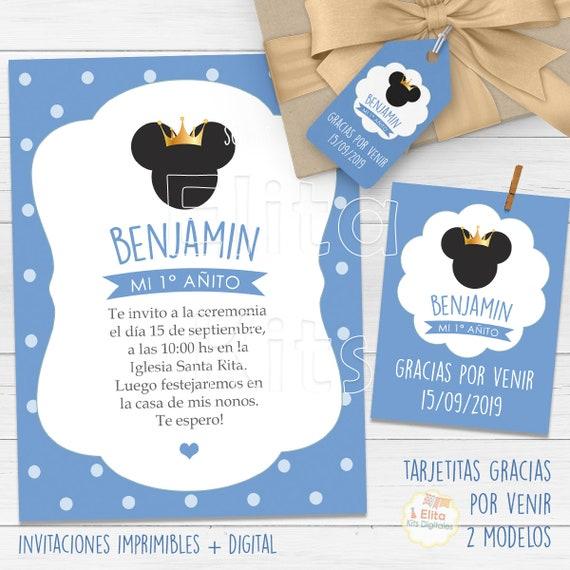 Kit Imprimible Mickey Rey Corona Dorada Coronitas Cumpleaños Niño 1 Añito Bautizo Baby Shower Candy Bar Personalizado Invitaciones
