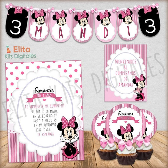 Kit Imprimible Minnie Mouse Decoración Cumpleaños Bautizo Baby Shower Nenas Niñas Invitaciones Bautizo Imprimibles Minnie Mouse Rosa