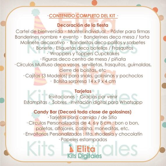Kit Imprimible Corona Cumpleaños Nene Bautismo Baby Shower Shabby Chic Candy Bar Personalizados Listos Para Imprimir