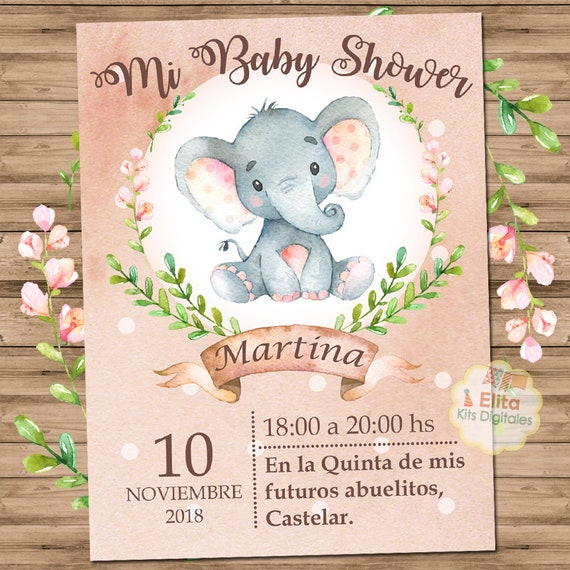 Baby Shower Nina Elefante Decoracion.Kit Imprimible Elefante Ninas Decoracion Baby Shower Ninas Imprimibles Baby Shower Nenas Invitaciones Elefanta Elefante Nenas