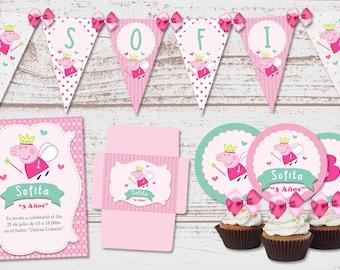 "Luxury printable Kit ""Peppa Pig Hada"" Birthday Parties babe. Chanchita, Pig, Pepa. Super full. Custom."