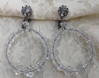 Vintage Crystal Clip On Earrings, Clear Crystal Hoops, Crystal Dangle Earrings, 1960s Jewelry, Retro Earrings, Lot of 2 Earrings