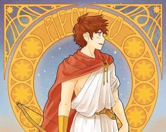 Apollo Greek God | greek mythology, art nouveau poster, art nouveau print, mucha, mythology, anime print, anime poster, manga poster