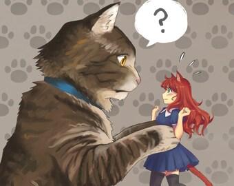 Chat et cedric | affiche de chat, chat impression, oreilles de chat, Chat tigré, nekomimi, anime affiche, anime impression, affiche manga, anime fille, cadeau d'otaku