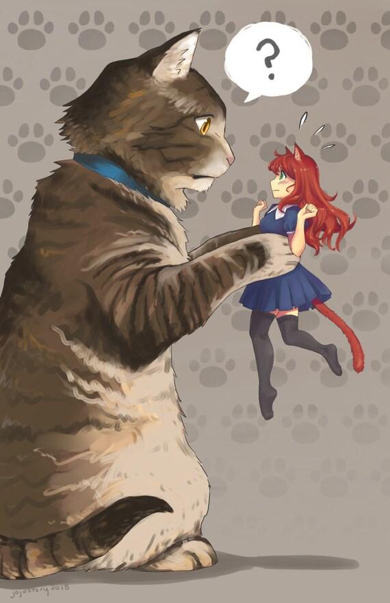 Katze und Catgirl Katze Plakat Katze Druck Katzenohren   Etsy
