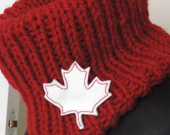 Hand Knit, Canadian Red Cowl Neck Warmer with Maple Leaf Brooch