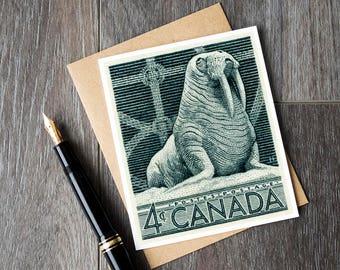 walrus birthday cards, walrus art postage canada, canada postage walrus cards, canadian walrus retirement cards, birthday walrus art cards
