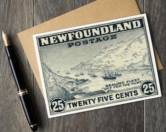 Newfoundland cards, Newfoundland Canada, Canada Stamp Art, Newfoundland Christmas cards, vintage birthday cards, newfoundland sealing fleet