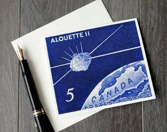 Alouette 2, Canadian space birthday card, Canada space retirement cards, space art congratulations card, vintage Canadiana greeting cards