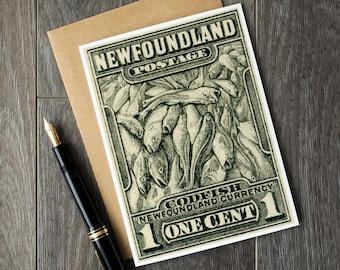 Newfoundland cards, newfoundland art, canada birthday cards, canadian xmas cards, newfoundland canada, vintage canadiana, unique xmas cards