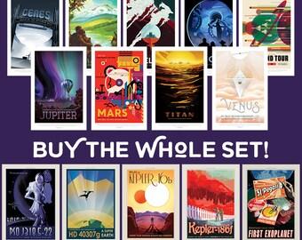 NASA Travel Posters Set, Full Set of 15 NASA Posters, Visions of the Future, NASA Posters, Nasa Prints, Space Print Set, Space Art Set