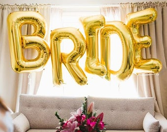 "BRIDE Letter Balloons | 40"" Gold Letter Balloons 