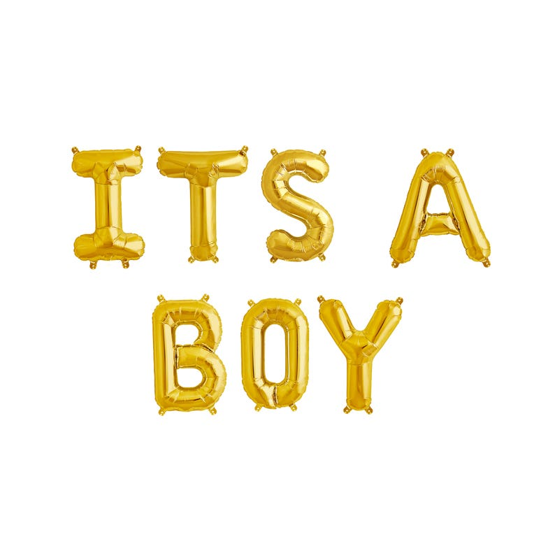 16 Gold Letter Balloons Metallic Letter Balloons ITS A BOY Letter Balloons Gold Party Decorations