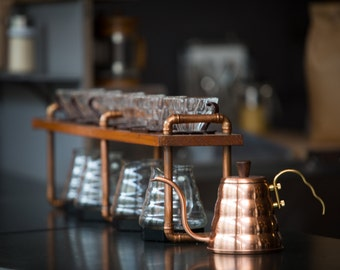 Luna Customs Series: Timber and Copper Pour-Over/Drip Coffee Stands Personalized, Ideal for Cafes