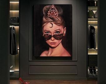 Audrey Hepburn Original Oil Painting Art Portrait Fashion Icon Cinema Art Original Art Old Movie