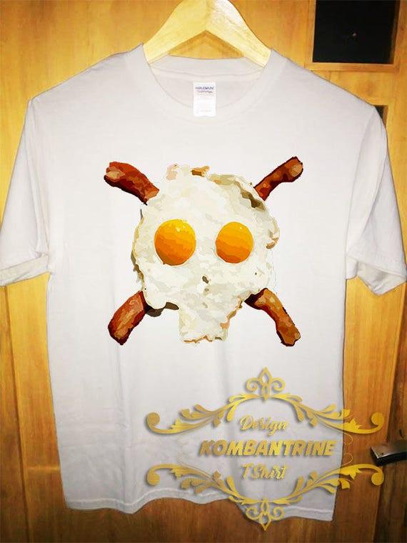 T-shirt chemise Bacon oeufs Skull de Tee Bacon drôle de Skull cadeau unisexe d55fec