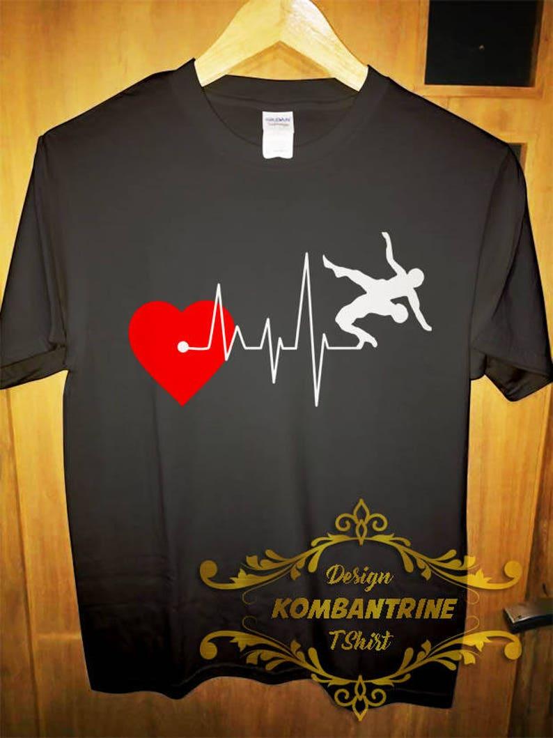 fabfd1009b T shirt I love Wrestling Tee Heart Beat Love Funny Gift shirt   Etsy