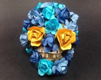 Floral Skull Decorated Skeleton Feminine Roses Whimsical Romantic