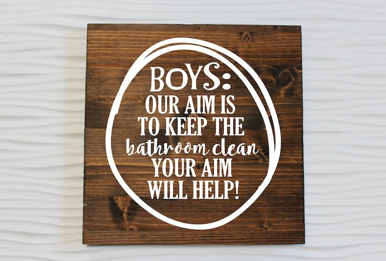 Boy Bathroom Decor   Our Aim Is To Keep This Bathroom Clean   Bathroom Sign    Boys Bathroom Decor   Kids Bathroom   Funny Bathroom Decor