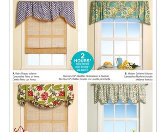 Sewing Pattern for Four Window Valances Patterns, McCall's Pattern 7034, Sew Designer Look Window Treatments for your Home, Valance Patterns