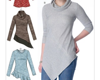 Sewing Pattern for Misses' Cowl-Neck Tops, McCall's Pattern 7194, , Plus Sizes Avail, Easy Sew Pattern, Cowl Neck Tunics, Hem Variations