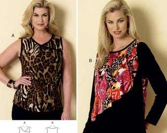 dbfbfde5756 Sewing Pattern for Misses  Women s Sleeveless or Flounce-Overlay Tops