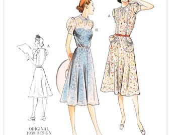 Sewing Pattern For Misses Vintage Style Dress 1939 Design Vogue V9294 1930s