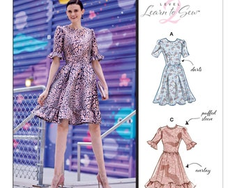 Mccalls Ladies Easy Learn to Sew sewing pattern 7405 gathered Neckline Bodycon...