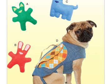 Sewing Pattern for Dog Toys with Contrast Ears and Nose Appliqué, and Backpack with Handle, Kwik Sew # 4211, Dog Coat, Pet Dog BackPack Coat