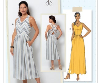d272119eea385 Sewing Pattern Womens Dress in Misses Sizes, Butterick Pattern B6661, New  Pattern, Back Detail Dress with Pockets, Midi or Maxi Lengths