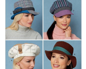 Sewing Pattern for Misses' Hats, Butterick Pattern 6538, Women's Hats, Fedora, Newsboy, Beret, Winter Hats