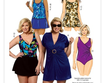 195235ab5fe43 Sewing Pattern for Womens Size Cover-Up, Top, Swimdress, Swimsuit, Skirt  and Briefs, Butterick Pattern 5795, Womens Size 18W to 32W, B5795