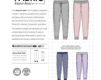 6fec8c7ed51390 Sewing Pattern for Matching Jogger Knit Pants for the Family,Mom,Dad, Teen  & Child,Simplicity 8268, Jogger Pant Pattern for Adults, Children