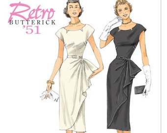 Sewing Pattern for Misses'/ Misses' Petite Side-Ruffle Dress & Belt, Butterick Pattern 5880, Retro '51, 1950's Style Dress, Special Occasion