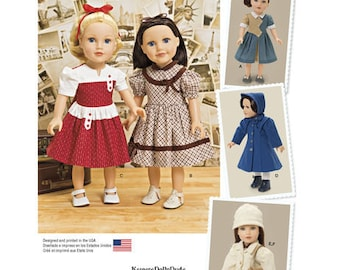 """Sewing Pattern for 18"""" Doll Vintage Wardrobe, Simplicity Pattern 1245, Vintage Inspired Designs, KeepersDollyDuds, Pinafore, Dress, Coat Hat"""