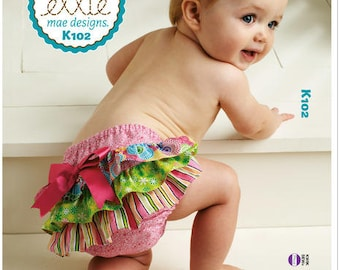 Sewing Pattern for Infants' Diaper Covers, Kwik Sew Pattern 0102, Ruffled Diaper Cover, Appliqued Diaper Cover, Adorable Diaper Cover