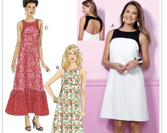 Sewing Pattern for Misses' Back-Cutout Dresses with Yokes, Butterick Pattern 6447, Fast & Easy Pattern, Maxi - Knee Length