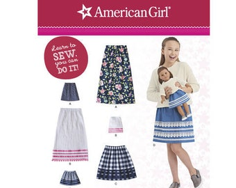 A Learn to Sew Sewing Pattern for American Girl ~ Girls' and Doll Skirts, Simplicity 8662, Matching Girl & Doll Skirts to Sew