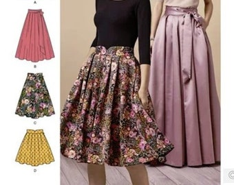 9fc87d7e3 Sewing Pattern for Womens Pleated Skirts 4 Lengths, Simplicity Pattern  8743, New Pattern, Full Pleated Skirt with Sash, Mini to Full Length