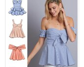 Sewing Pattern for Misses 39 Tops - A Create It Pattern, McCalls Pattern M7752 New Pattern, Cold Shoulder Top, Peplum, Bare Shoulder, Bra Top