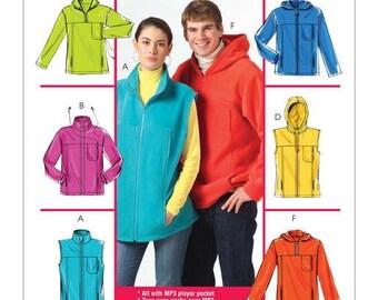 Mens Zipper Front Jackets Lower Drawstring Hem Sewing Pattern S M L XL XXL 36-48