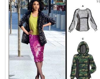 Sewing Pattern for Misses'/Mens Tops & Hoodies, Easy McCall's Pattern M8054, His n Hers Crew Necks,Hoodies, Zip Up Hoodies, Plus Sizes Avail