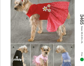 "Sewing Pattern for Dog Dress and Dog Shirt,  Kwik Sew # 3465, Pattern for Dog Clothes, ""Spoiled"", ""Diva"", Dog Tulle Dress"